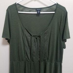 torrid Tops - TORRID | Olive Green Crochet Peplum Tee 2 2X 2XL